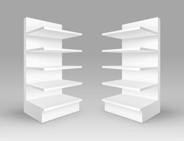 Conjunto de expositores comerciales vacíos en blanco blanco stands shop racks con estantes escaparates aislados sobre fondo