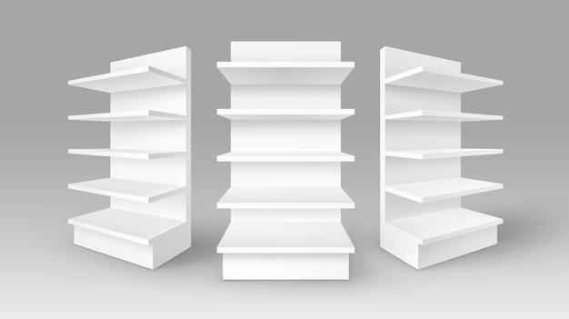 Conjunto de expositores comerciales vacíos en blanco blanco stands shop racks con estantes escaparates en el fondo