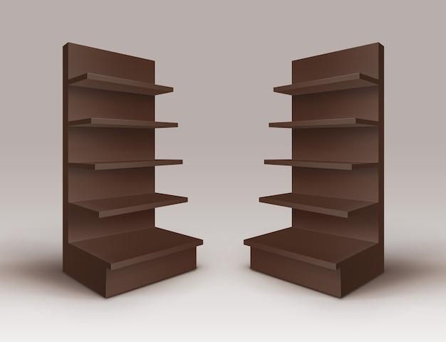 Conjunto de expositores comerciales vacíos en blanco marrón stands shop racks con estantes escaparates aislados sobre fondo
