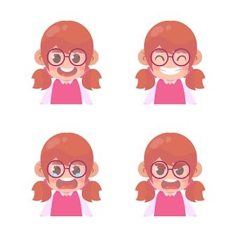 Conjunto de expresión de cara de niña