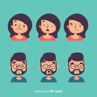Conjunto de expresión facial de diferentes emociones.