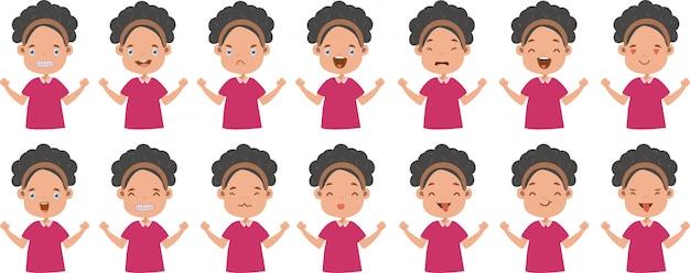 Conjunto de expresión facial de emociones faciales de niña.