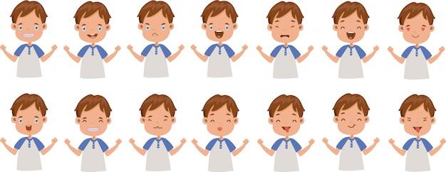Conjunto de expresión facial de emociones faciales de niño.