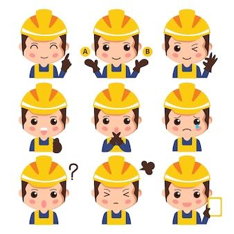 Conjunto de expresión facial de trabajador de construcción