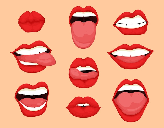 Conjunto de expresiones de boca de dibujos animados.