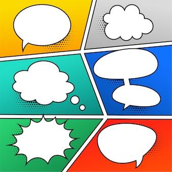 Conjunto de expresiones de burbujas de chat cómico
