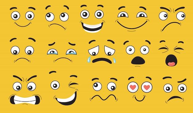 Conjunto de expresiones faciales cómicas
