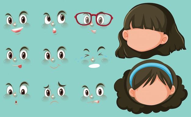 Conjunto de expresiones faciales y dos cabezas de niña