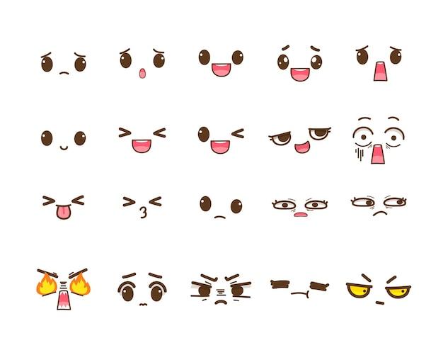 Conjunto de expresiones faciales lindas ilustración de arte de dibujos animados dibujados a mano