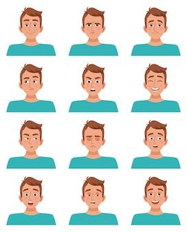 Conjunto de expresiones faciales masculinas