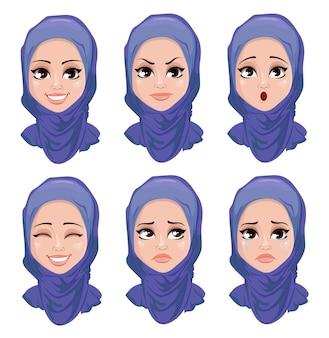 Conjunto de expresiones faciales de la mujer árabe.