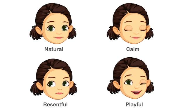 Conjunto de expresiones faciales de niña