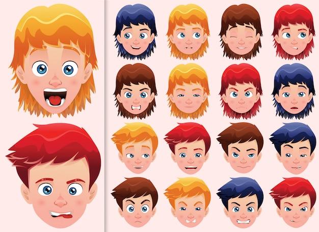 Conjunto de expresiones faciales para un niño con peinados