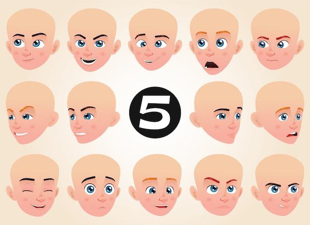 Conjunto de expresiones faciales para un niño pequeño