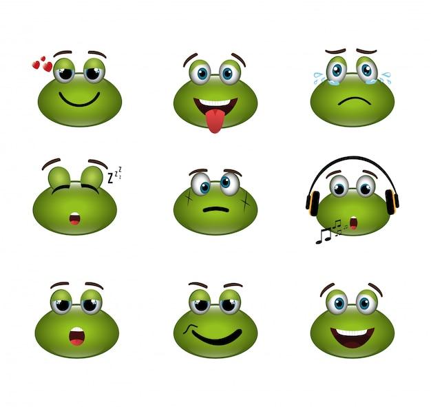 Conjunto de expresiones de ranas emoticones