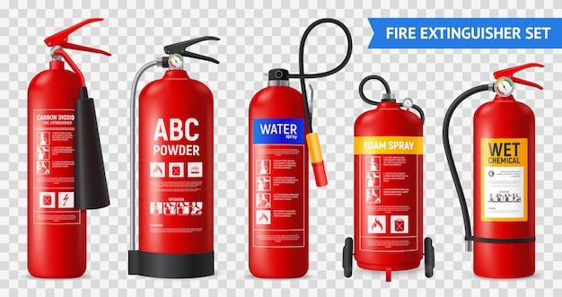 Conjunto de extintor de incendios realista con unidades de extinción de incendios portátiles aisladas de diferente forma en la ilustración de fondo transparente