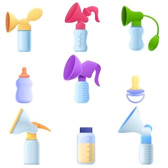 Conjunto de extractor de leche, estilo de dibujos animados