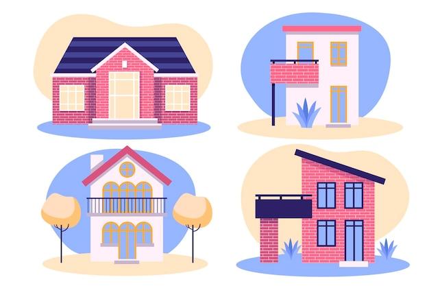 Conjunto de fachada de casa hermosa