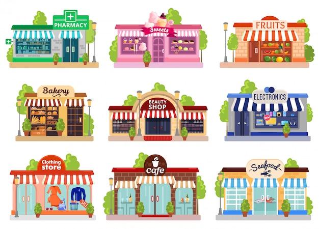 Conjunto de fachadas de tienda