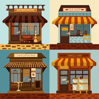 Conjunto de fachadas de tiendas y mini tiendas locales.