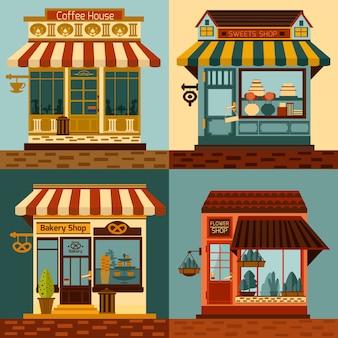 Conjunto de fachadas de tiendas