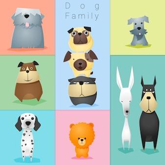 Conjunto de familia de perros
