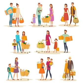 Conjunto de familia de personas en el supermercado con carro y abarrotes