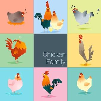 Conjunto de familia de pollo