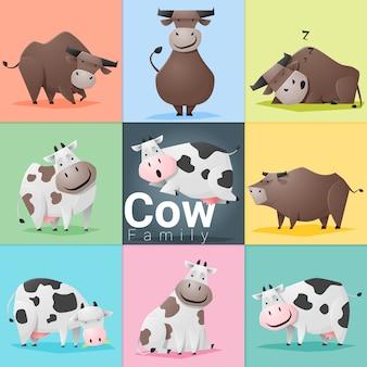 Conjunto de familia de vaca