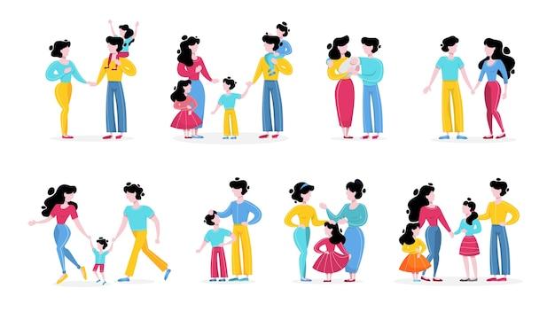 Conjunto familiar. colección de padres felices con niños.