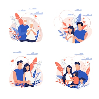 Conjunto familiar de dibujos animados ilustración plana