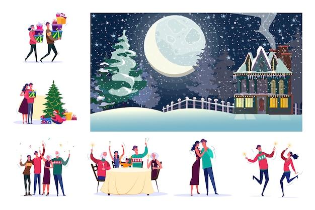 Conjunto de familias celebrando la navidad