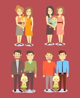 Conjunto de familias gay homosexuales lgbt vector