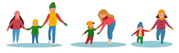 Un conjunto de familias patinando sobre hielo. deportes de invierno. ilustración de vector de estilo plano.