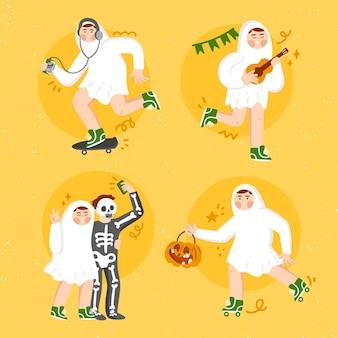 Conjunto de fantasmas del festival de halloween