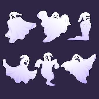 Conjunto de fantasmas de halloween de diseño plano
