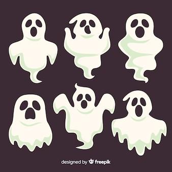 Conjunto de fantasmas de halloween de miedo