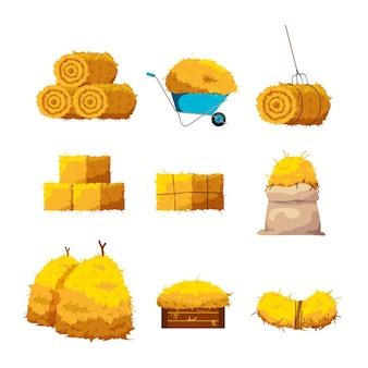 Conjunto de fardos de heno y pasto seco en diferentes formas. ilustración de dibujos animados