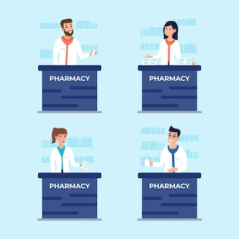 Conjunto de farmacéuticos ilustrados trabajando