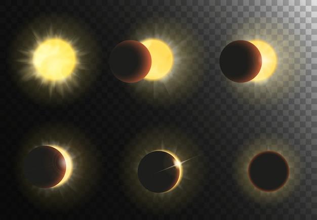 Conjunto de fases de eclipse solar.