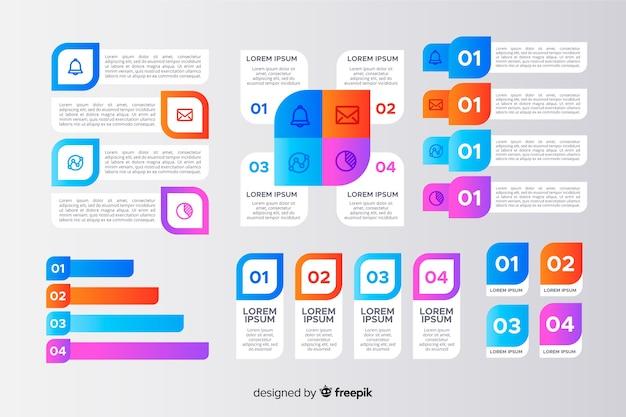 Conjunto de fases de infografía de plantilla de elementos