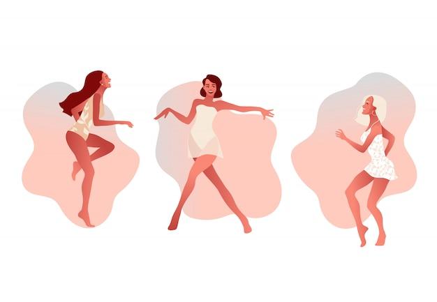 Conjunto de felices chicas sexy o amigos bailando y riendo. dia de la mujer.
