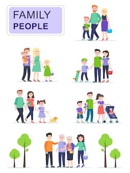 Conjunto de felices familias tradicionales con niños.
