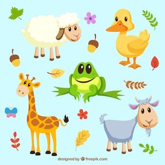 Conjunto feliz de animales sonrientes