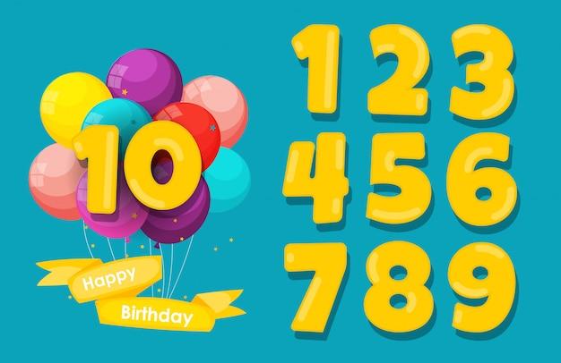 Conjunto de feliz cumpleaños aniversario números felicitaciones, fondo de invitación. ilustración