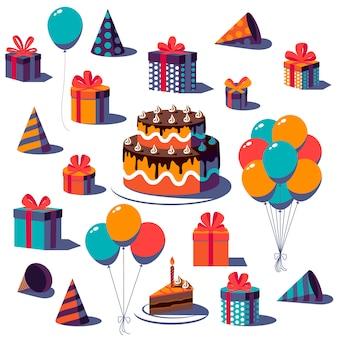 Conjunto de feliz cumpleaños festivo, caja de regalo con cinta y lazo, gorro de fiesta, globo y pastel aislado sobre fondo blanco. ilustración.