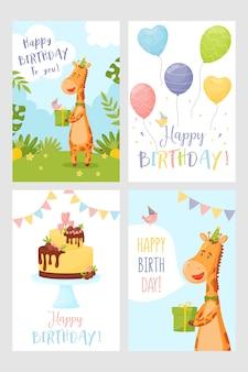 Conjunto de feliz cumpleaños tarjeta de felicitación jirafa pastel y globos.