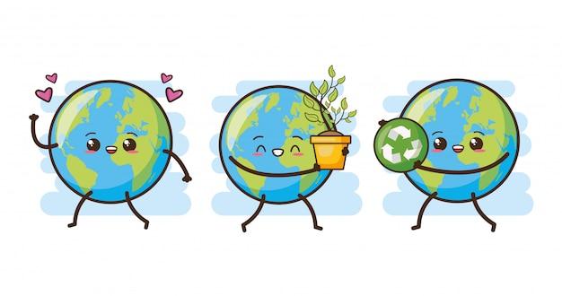 Conjunto de feliz tierra kawaii, ilustración