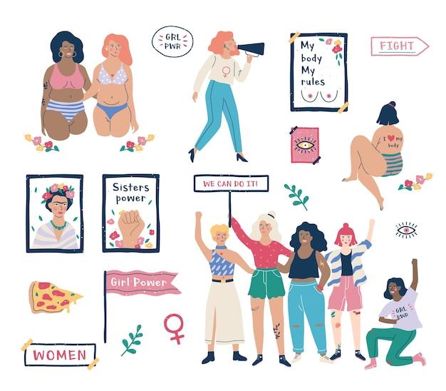 Conjunto de feminismo. idea de igualdad de derechos y cuerpo positivo