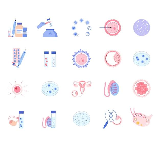 Conjunto de fertilización in vitro prueba genética y concepto de criopreservación